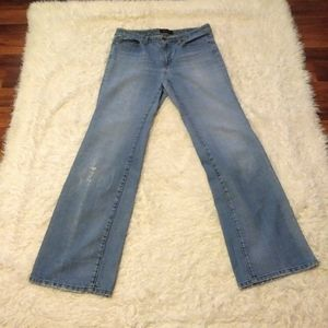Seven7 Distressed Light Wash Boot Cut Flare Jeans